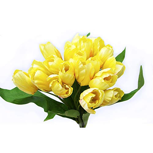 s Premium Silk Artificial Tulips Bundle with Greenery, Faux Blooming Flowers & Leaves in Bright Sunny Yellow for Home & Wedding ()