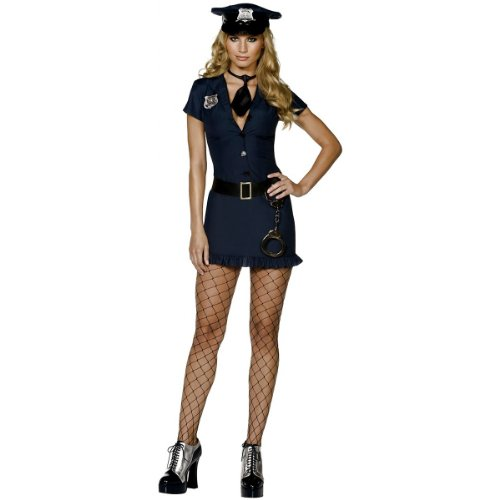 Smiffy's Women's Fever Naughty Cop Costume, Dress, Tie, Hat and Belt, Cops, Fever, Size 6-8, 32036 - Naughty Cop Costumes