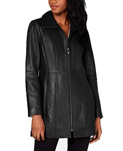 Anne Klein Plus Size Zip-Front Leather Jacket