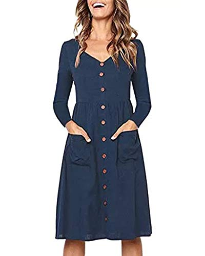 Womens Neck Midi Valphsio Navy A V Blue Navy with Long Casual Pockets Dress Button Dresses Down Sleeve Line dxAqgwBIA