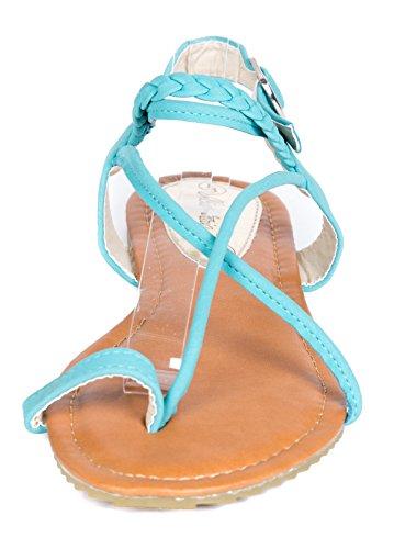 Victoria K Women Beach Sandals Open Toes Sea Foam Flats Thongs, 8
