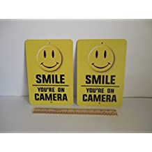2 Smile You're On Camera Video Surveillance Security Metal Yard Signs Stock # 721