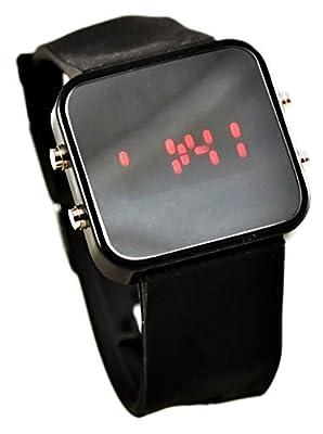 COCOTINA Hot Classical Lady Men Mirror Face LED Date Sport Rubber Digital Wrist Watch CN (Black)
