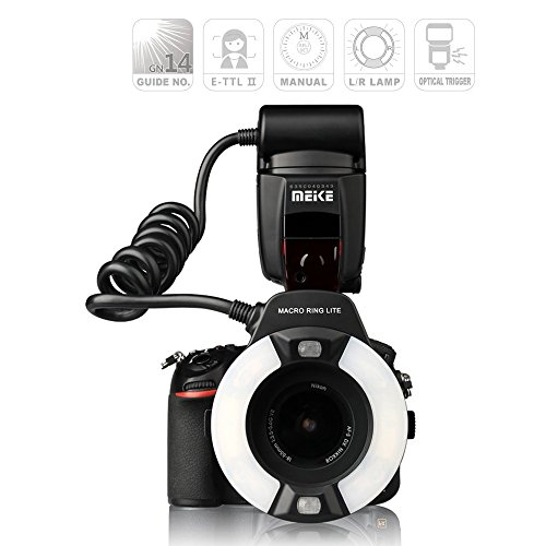 Digital Macro Ring - Meike MK-14EXT iTTL TTL LED Macro Ring Flash Light for Nikon D4 D800 D5200 D7100 DSLR Camera with Hot Shoe Mount
