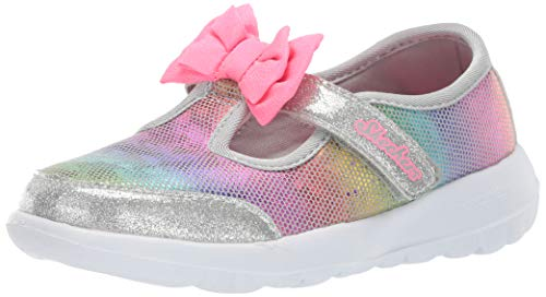 Skechers Kids Girls' GO Walk Joy-Bitty Glam Sneaker Grey 4 Medium US Toddler