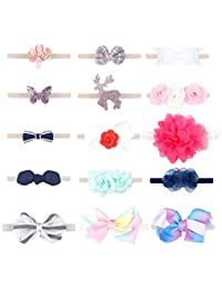 Finrezio 15PCS Baby Girl's Headbands Set for Toddlers Baby Girls Chiffon Flower Bow Hair Accessories Elastic Band