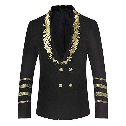 Mens Dress Jacket Double Breasted Shawl Collar Tuxedo Dinner Blazer Wedding Party Prom (Small/36R, Black)