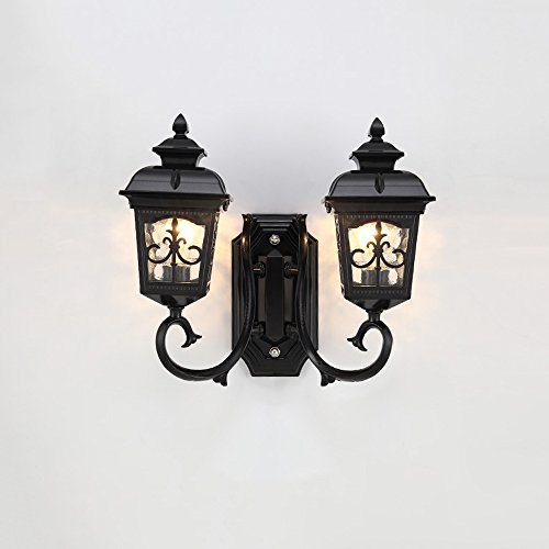 Vampsky Antique Classic Outdoor 2-Lights Glass Lantern Wall Lamp Outdoor Double Headlight Tradition Continental Victorian Patio Garden Villa Balcony E27 Decoration Wall Sconce Light (Color : -