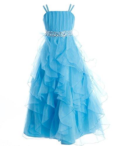 Fashion Plaza Mädchen Party Kleid Organza Blumenmädchenkleid K0044 (4, Hellhimmelblau)