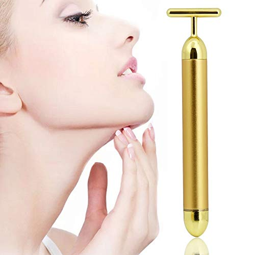 Wowobjects 1Pc 24K Golden Skin Care Anti-Aging Vibration Facial Roller Massage Pulse Beauty Bar