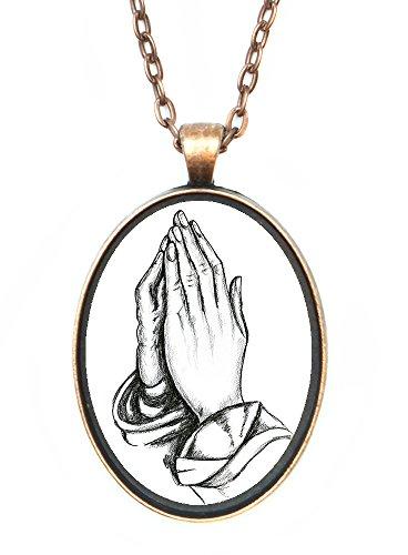 - Praying Hands Huge 30x40mm Handmade Antique Copper Pendant