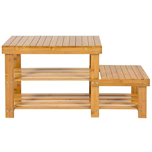 NEW Bench 2-Tier Natural Bamboo Shoe Boot Storage Racks Shelf Organizer Chair Seat