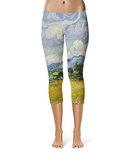 Van Gogh Painting Costume (Vincent Van Gogh Fine Art Painting Sport Leggings - Capri Length, Mid/High Waist)