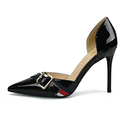 Women's Stiletto High ZPL Toe Wedding Sandals Black Party Pumps Court Pointed Heel Dress Shoes Y1qd4q
