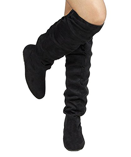 by Slouchy Shaft Over K ROF Black Knee Premium Hi Heel OF FASHION Low High Thigh TREND Boots ROOM the Women's Suede Flat qqzvt6