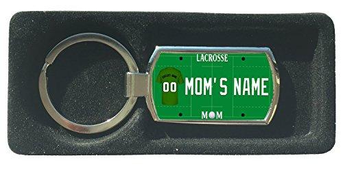 (BRGiftShop Personalized Custom Sports Lacrosse Mom License Plate Metal Keychain)