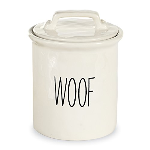 Mud Pie Dog Treat Canister, White