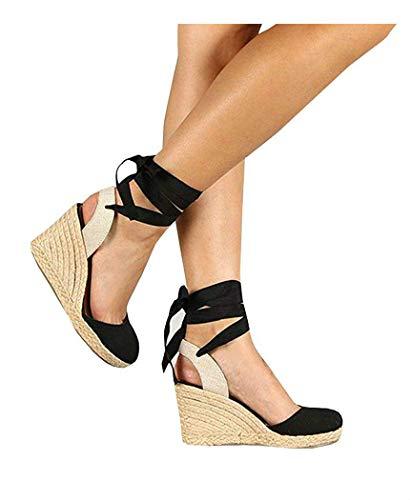 (PiePieBuy Womens Espadrille Wedges Ankle Strap Closed Toe Heeled Sandals (8 B(M) US, 2-Black))