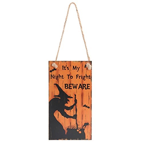 Halloween Greeting Hanging Door Decor It's My Night to Fright Beware Wall Sign -