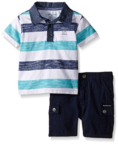 Calvin Klein Baby Boys' Striped Jersey Polo Shirt and Twill Shorts, Navy, 12 Months (Jersey Striped Shorts)