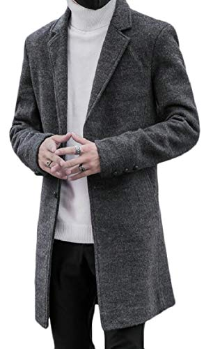 security Classic Notched Men's Peacoat Grey Single Breasted Collar Blend Wool ar5afq