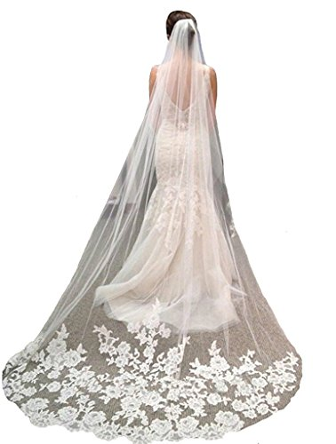 Banfvting Long Bridal Veils 3M Appliques Tulle Ivory White Veil With Free Comb