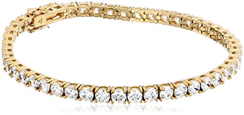 Yellow Gold Plated Sterling Silver Tennis Bracelet with Round Cut Swarovski Zirconia (18.72 cttw), 8""