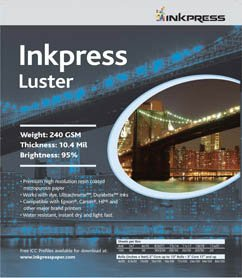 Inkpress PCL1117100 Commercial Luster Inkjet Paper 11in. X 17in. 100 Sheets