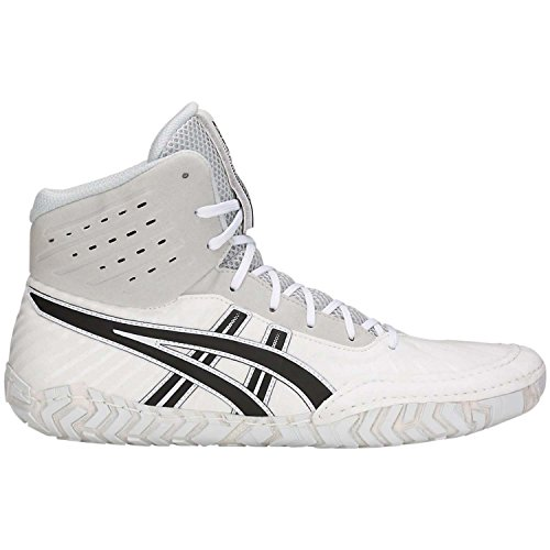 ASICS Aggressor 4 Men's Wrestling Shoes, White/Black, Size 9.5