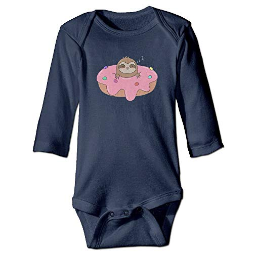 CIliik Cute Sloth On Top of A Donut Long Sleeve Onesies Romper Long Sleeve Onesies Outfits Navy Baby Infant Fashion from CIliik