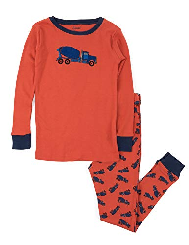 Leveret Kids Pajamas Boys Girls 2 Piece pjs Set 100% Cotton (Cement Truck, Size 2 Toddler)