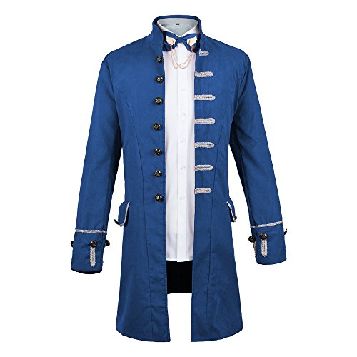 WULFUL Men's Steampunk Tailcoat Jacket Gothic Victorian Frock Coat Tuxedo Halloween Costume