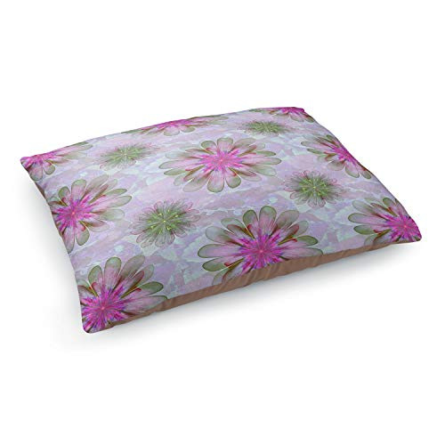 Dia Noche Dog Pet Beds by Pam Amos - Abstract Flower Tile Pink Green