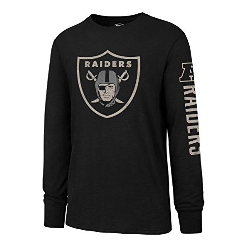 NFL Oakland Raiders Men's OTS Slub Long Sleeve Team Name Distressed Tee, Jet Black, Medium