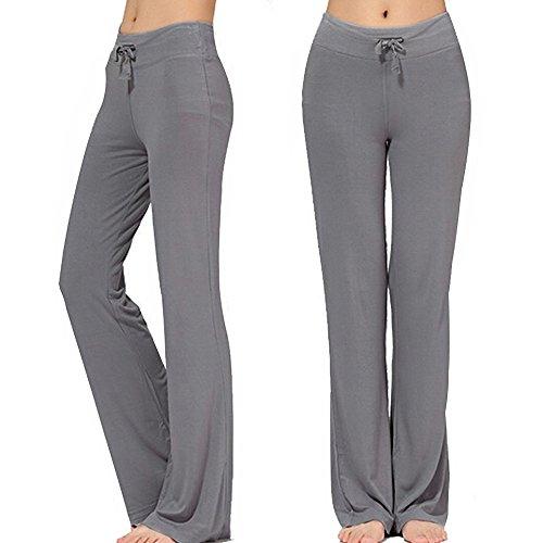 Straight Leg Trouser Pant - KY-YPFW Women's Loose Drawstring Trouser Wide Leg Yoga Pants for Sporting Straight Pants (Grey, M)