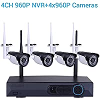 4CH 960P HD NVR Wireless Video Security Camera 4PCS 1.3MP WiFi IP Cameras CCTV Home Business Surveillance Network System Night Vision Waterproof Outdoor Indoor