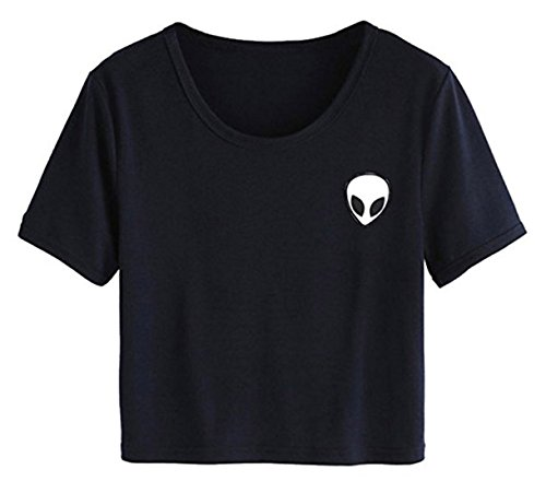 Lannorn Womens 7 Colors Funny Alien Print Exposed Navel T Shirts Round Neck Short Sleeve Blouse Summer Cropped Top Shirt,US S/Tag L,Black (Aliens Soft T-shirt)