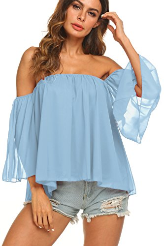 5be4eb82fa1c Uvog Women s Summer Off Shoulder Tops Ruffle Short Sleeve Chiffon Blouse  Casual T-Shirts at Amazon Women s Clothing store