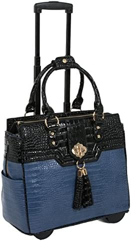 The Oceanside Blue Black Alligator Faux Leather Computer iPad, Laptop Tablet Rolling Tote Bag Briefcase Carryall Bag