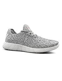 Comfy Moda Women's Glitter Sneakers Breathable Lace-up Lightweight Sparkly Running Shoes Pretty