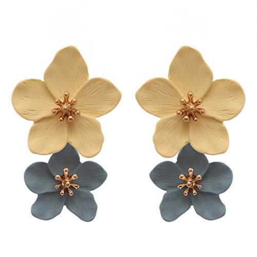 (Rosemarie Collections Women's Double Metal Flower Dangle Drop Post Earrings (Blue/Yellow))