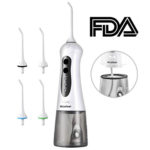 Price comparison product image Cordless Water Flosser Oral Irrigator, Nicefeel IPX7 Waterproof Anti-leakage 3-Mode USB Rechargable Professinal Portable Water Dental Flosser with 4 Jet Tips for Braces and Teeth Whitening of Family