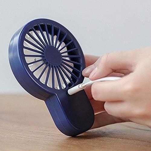 Ventilatore Portatile Handheld USB Piccolo Ventilatore Office Desktop Di Ricarica Portatile Che Tiene Piccola Elettrica Fan Fan Del Fumetto Ventilatore Usb (Color : Blue)