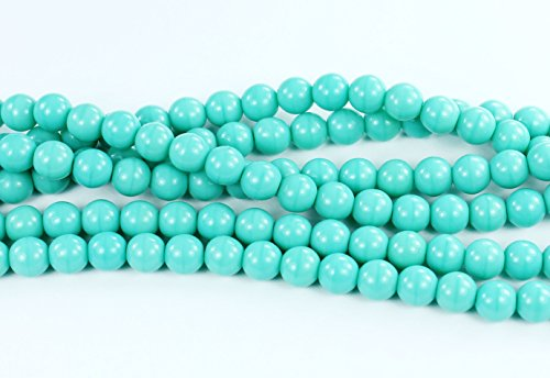 50 Turquoise Czech Pressed Glass Druk Round Beads - Beads 6mm Czech Glass Druk