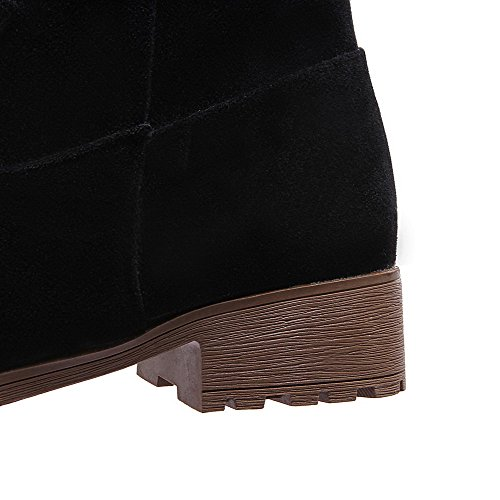 Toe High Suede Pull Women's WeiPoot On Boots Round Black Low Heels Closed Imitated Top 6UX6nzwxv
