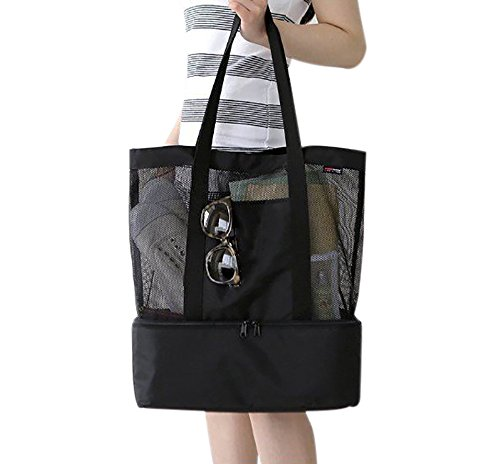 Mesh Beach Bag, Evary 2in1 Insulated Cooler Beach Tote Lunch Picnic Bag for Outdoor Gym Office Storage Bag Black by Evary