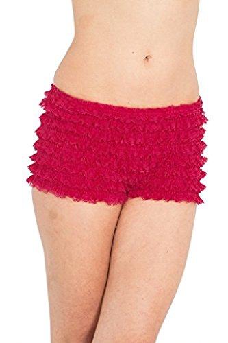 Booty Sexy Adult Costume - BellaSous Womens Sexy Ruffle Panties Tanga Dance Bloomers Sissy Booty Shorts (Raspberry, X-Large)