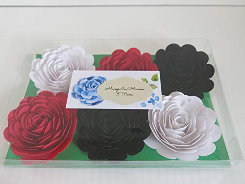 Black-Red-White-Paper-Roses-3-Paper-Flower-Blooms-Set-of-6-Big-Wedding-Flowers-Bridal-Shower-Decor-Mad-Hatter-Theme-Tea-Party-Decorations-Always-In-Blossom