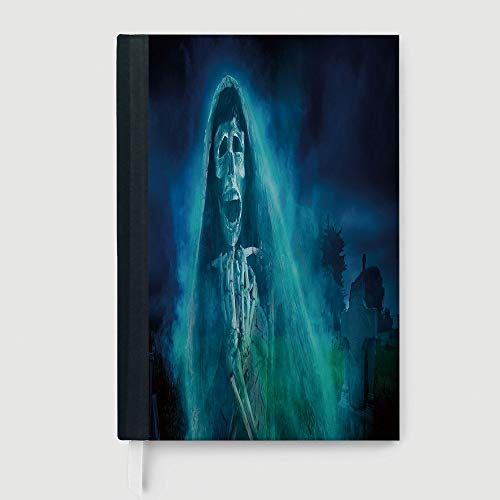 Composition Book/Notebook,Halloween Decorations,Notebook,Gothic Dark Backdrop with a Dead Ghost Skull Mystical Haunted Horror Theme,96 Ruled Sheets,A5/8.24x5.73 in ()