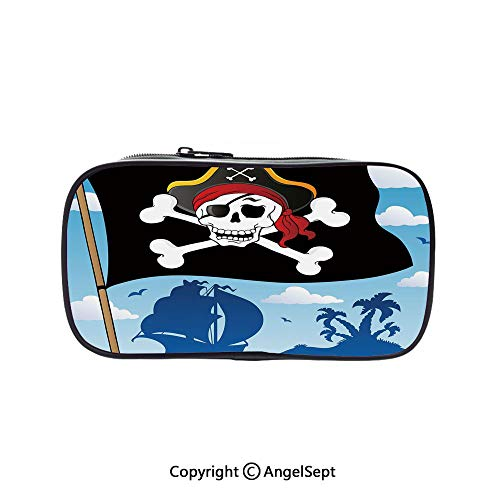 Two Big Pockets for Executive Fountain Pen,Danger Sign Beware of Pirates Skull with Hat Cross Bones Flag Deserted Island Decorative Blue Black White 5.1inches,Multi-Functional 72 Slots Colored Pencil